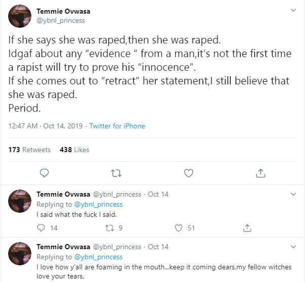 Even if the allegation is false, if a lady says she was raped she was raped - YBNL