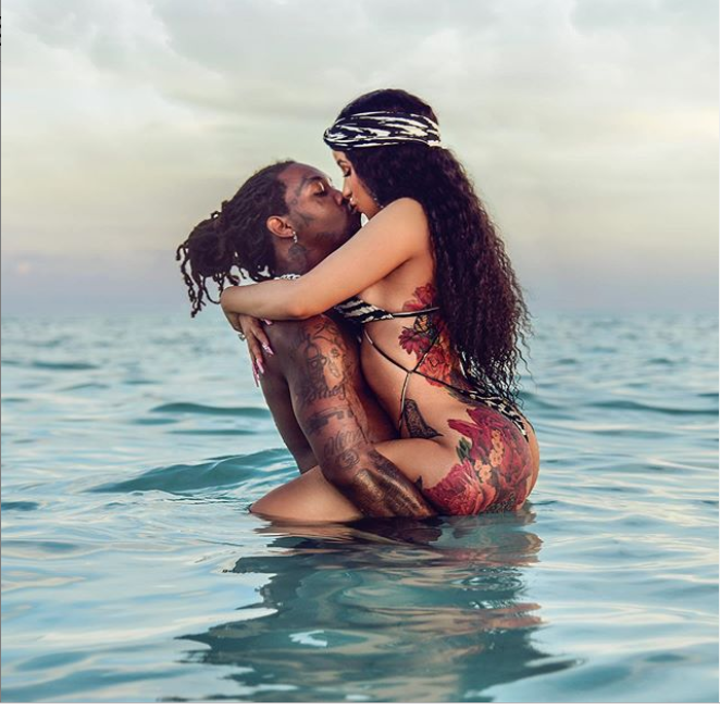 Cardi B and Offset share a kiss in the Ocean as they jet ski in Turks and Caicos(Photos)