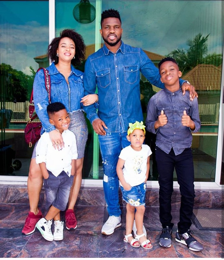 Lovely family photos of Adaeze Yobo, Joseph Yobo, and their kids all clad in denim