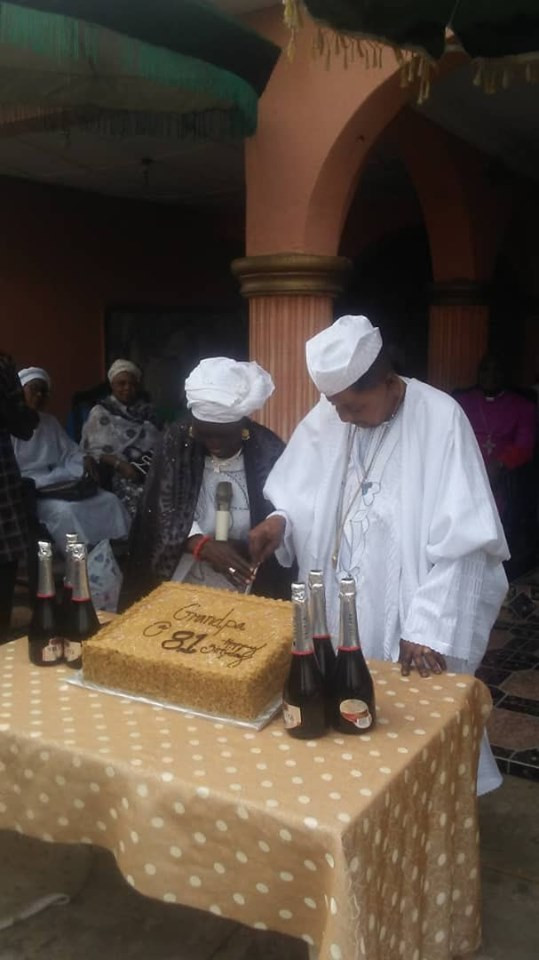 Photos of Alaafin of Oyo and his first wife at his 81st birthday party