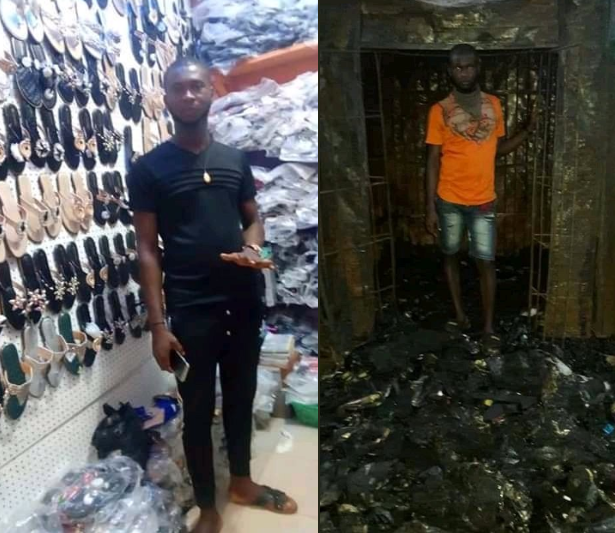 Sad photos show a young man's shop before and after the Onitsha destruction thumbnail