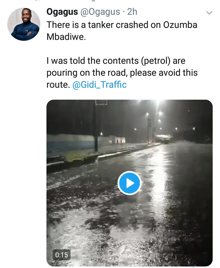 Tanker carrying petrol crashes along Ozumba Mbadiwe road and spills its content (video)