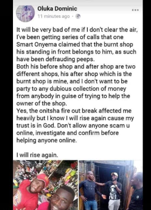 Onitsha market trader allegedly poses as another trader whose shop was affected by the fire to get help online