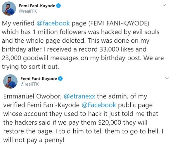 FFK's Facebook page hacked, hackers demand $20,000