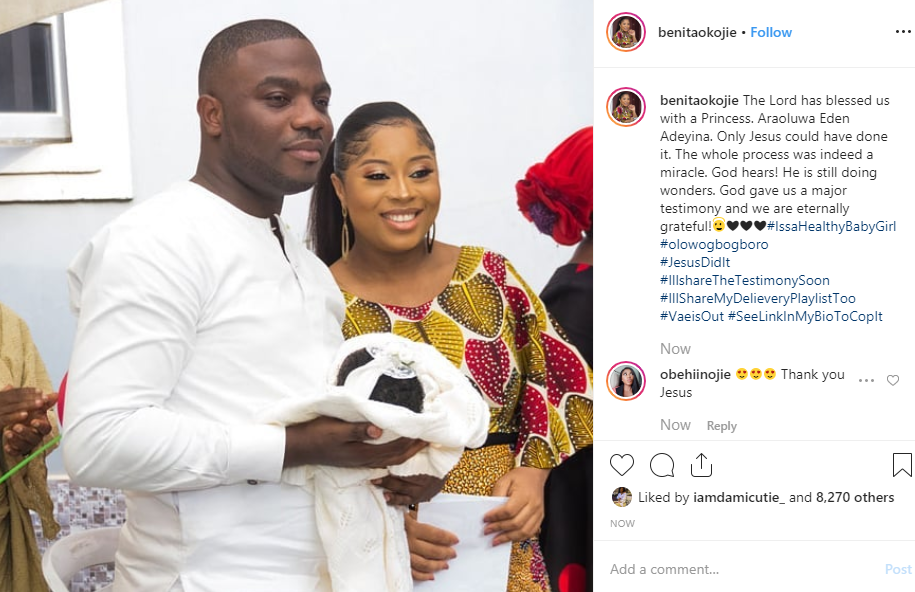 Child star, Benita Okojie welcomes her second child with her husband Wale Adeyina