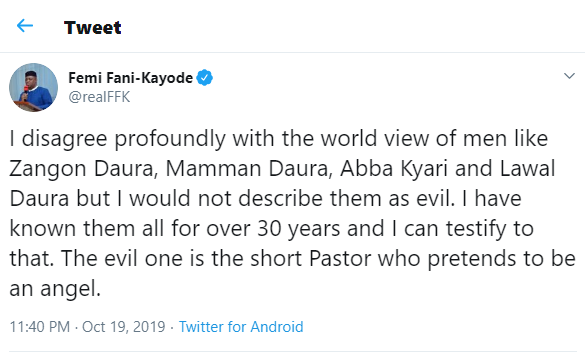 The evil one is the short Pastor who pretends to be an angel - FFK