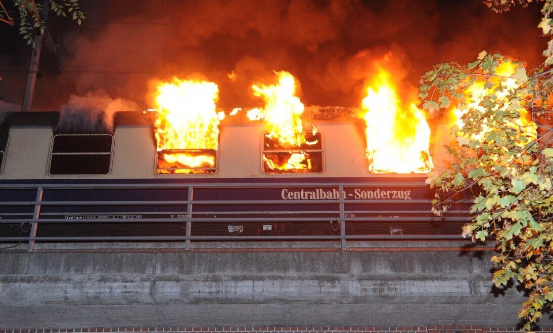 ?Train carrying hundreds of football fans catches fire in Germany, leaving several injured (Photos)