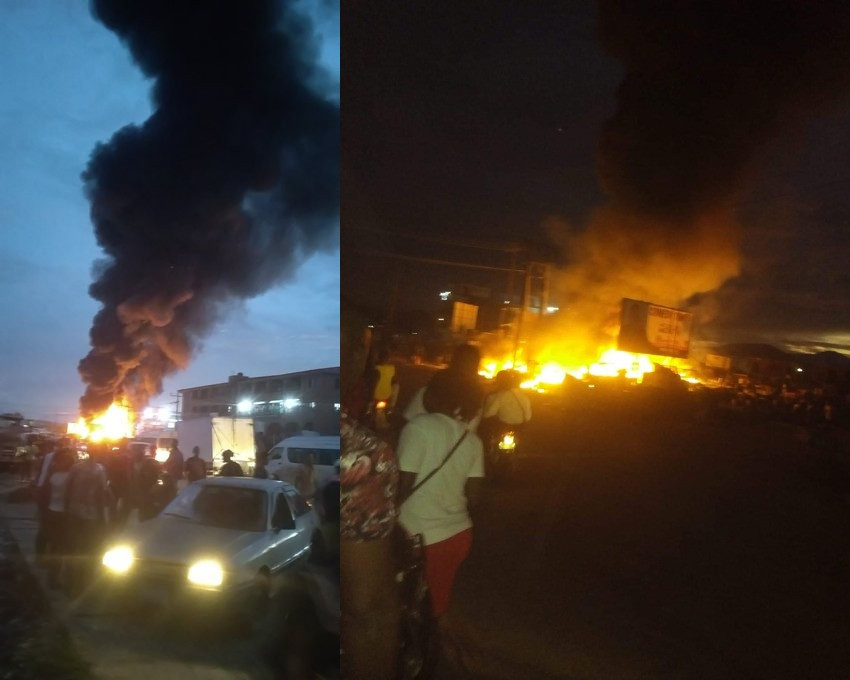 Photos/Video: Fire outbreak at popular market in Delta