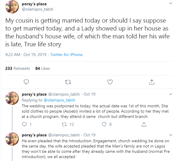 Twitter user narrates how the wife of her cousin