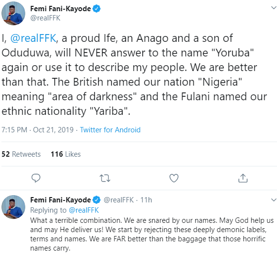 FFK says he no longer wants to answer to the name Yoruba, claims it was derived from a derogatory Fulani word