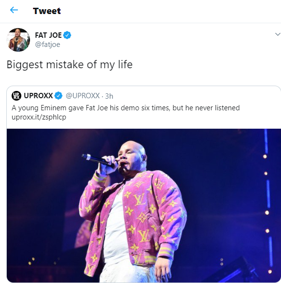 The biggest mistake of my life was not listening to Eminem when he came to me as a young rapper - Fat Joe