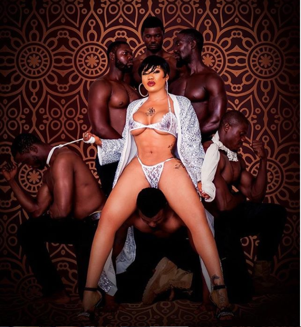Scantily clad Toyin Lawani shares more racy photos with Pretty Mike from their recent photoshoot