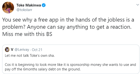 Toke Makinwa vows to give N500k to anyone who can reveal user of a Twitter account who accused her of owing her staff