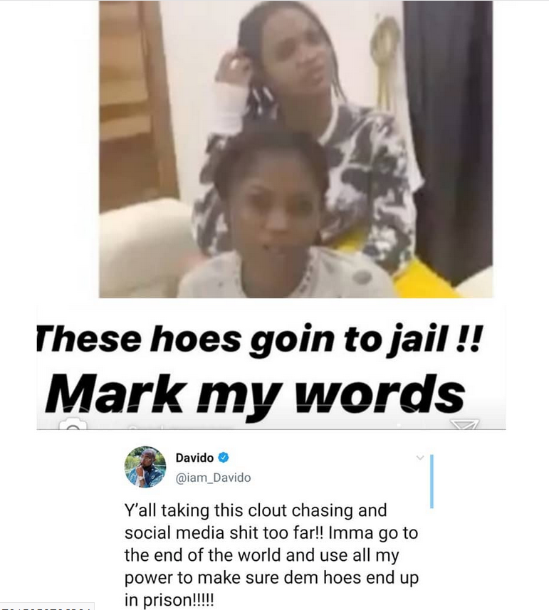 Mark my words, these hoes are going to jail- Davido reacts to viral video of lady claiming she is pregnant for him