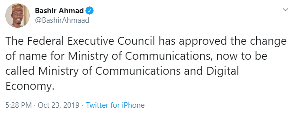 FG has changed the name of the Ministry of Communication. See what the new name is!