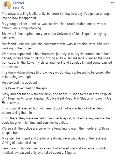 Man demands justice for his sister who died after a hospital rejected her and other victims who were hit by a drunk driver