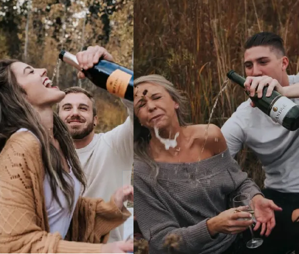 Couple attempt to recreate photo during their engagement photoshoot but it goes wrong