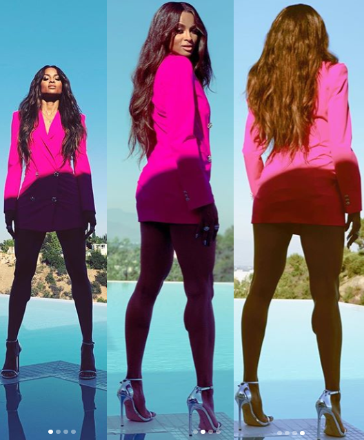 Ciara flaunts her long legs in mini jacket dress?(Photos)