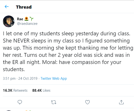 Teacher touches hearts as she explains why she let a student sleep in class