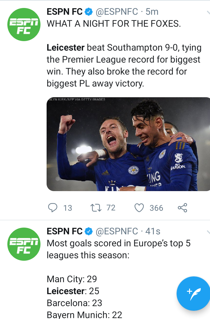 Leicester city humiliate Southampton 9-0, making it their biggest ever result in EPL history and Twitter goes into meltdown