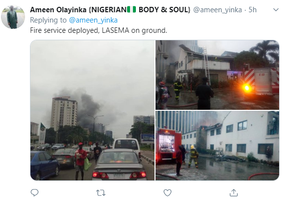Transcorp responds to reports of fire outbreak at their Ikoyi building (photos/video)