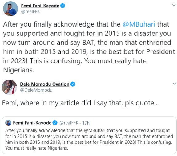 Between FFK, Dele Momodu and Bola Tinubu on Twitter