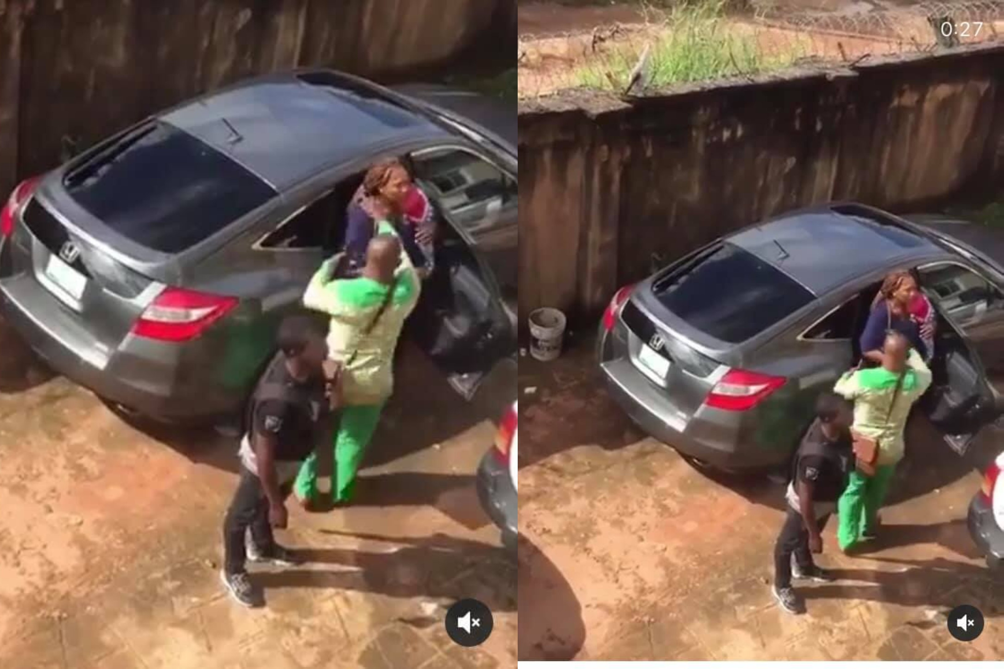 Policemen spotted pushing a nursing mother carrying her two months old baby into a car in Owerri (video)