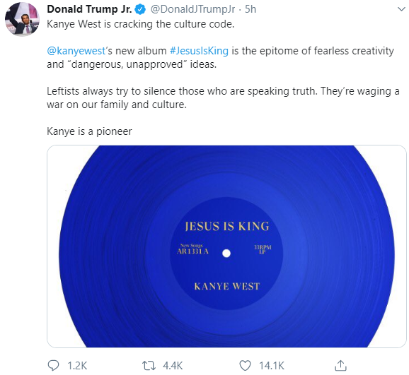 Donald Trump Jr shares his thought on Kanye West
