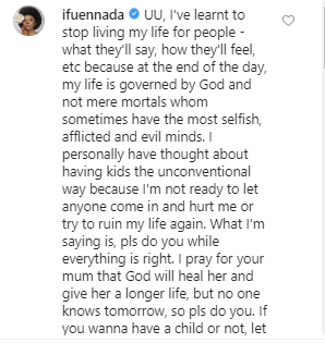 """I have thought about having kids the unconventional way"" Ifu Ennada says in response to Uriel"