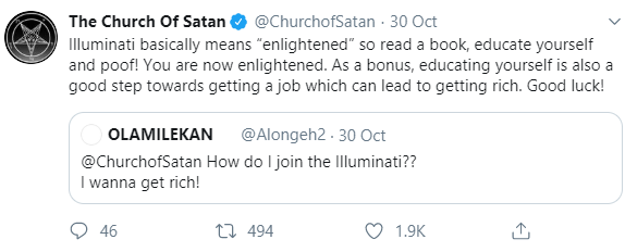 """Church of Satan"" schools a Twitter user who is desperate to get rich by joining the Illuminati""Church of Satan"" schools a Twitter user who is desperate to get rich by joining the Illuminati"