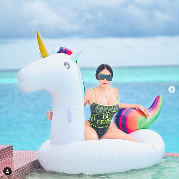 Dencia flaunts her curves in one-piece Fendi?swimsuit as she vacations in the Maldives Island (Photos)
