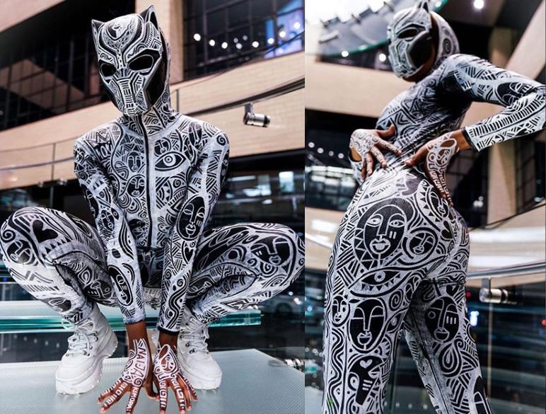 BBNaija star Kim Oprah slays in Black Panther custom-printed dress for Halloween?(photos)