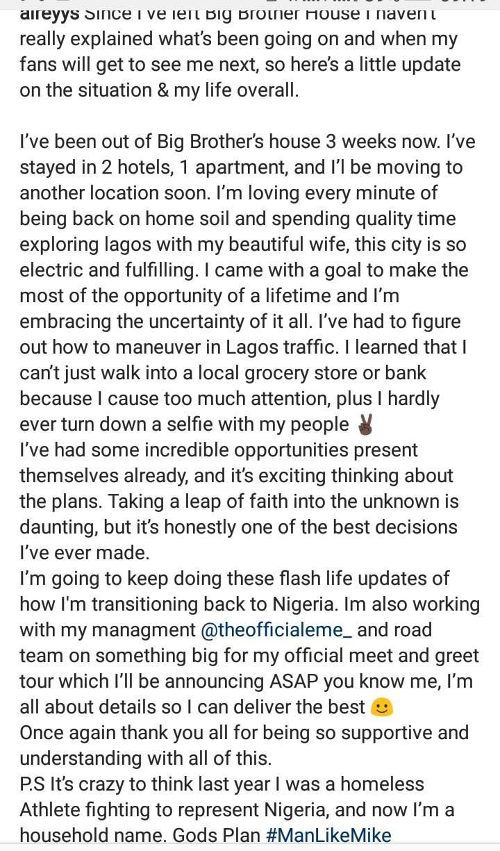 """Last year I was a homeless athlete fighting to represent Nigeria"" BBNaija"