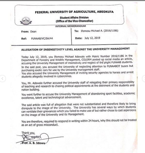 FUNAAB student expelled over his post on insecurity and police harassment in the school