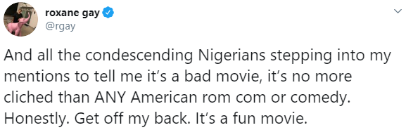 American writer shuts down Nigerians who tried to make her dislike a Nigerian movie she watched and totally enjoyed