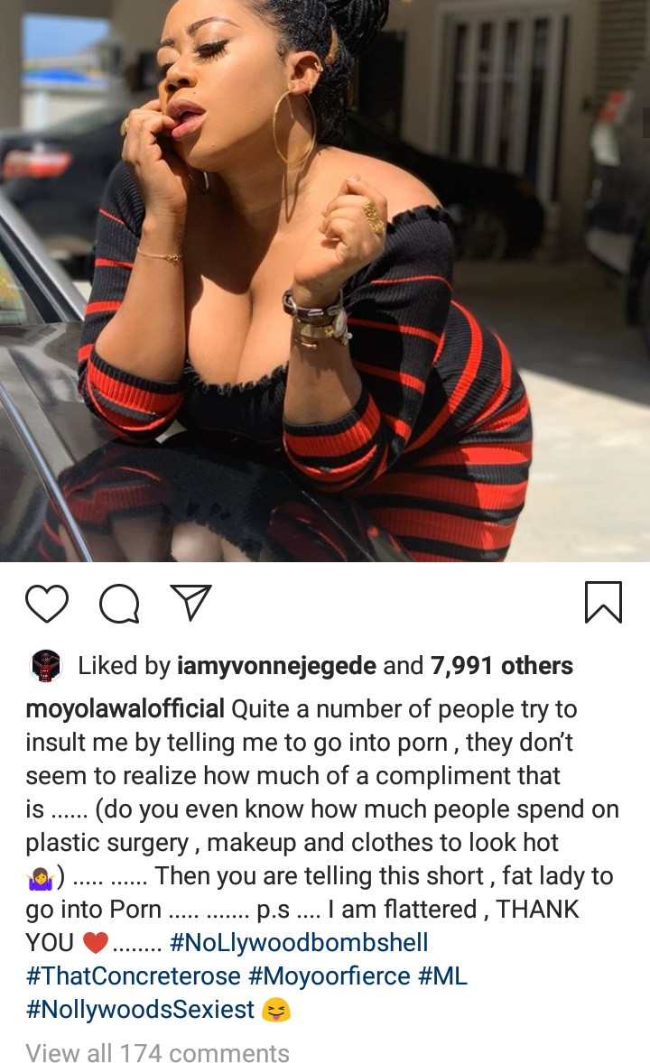 Moyo Lawal responds to people who try to insult her by suggesting she acts in pornographic movies