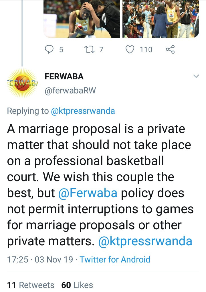 Debate ensues as Rwanda Basketball Federation criticizes a basketballer for proposing to his girlfriend on a fully packed professional basketball court