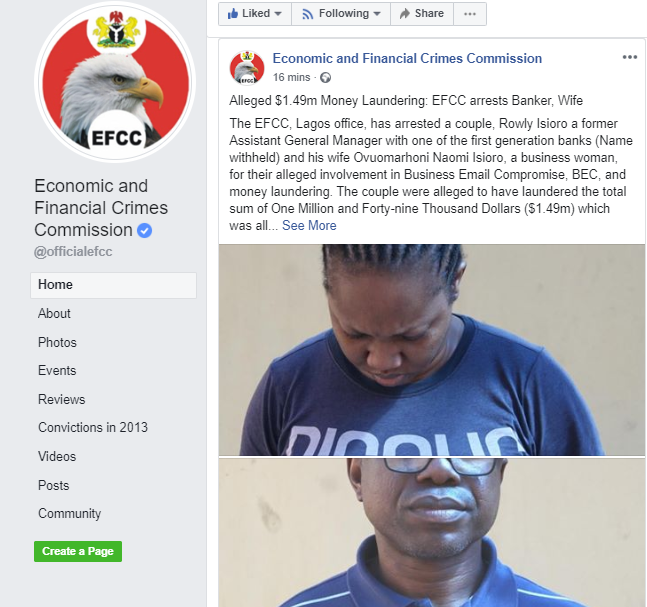 Alleged $1.49m money laundering:  EFCC arrests Banker, Wife (photos)