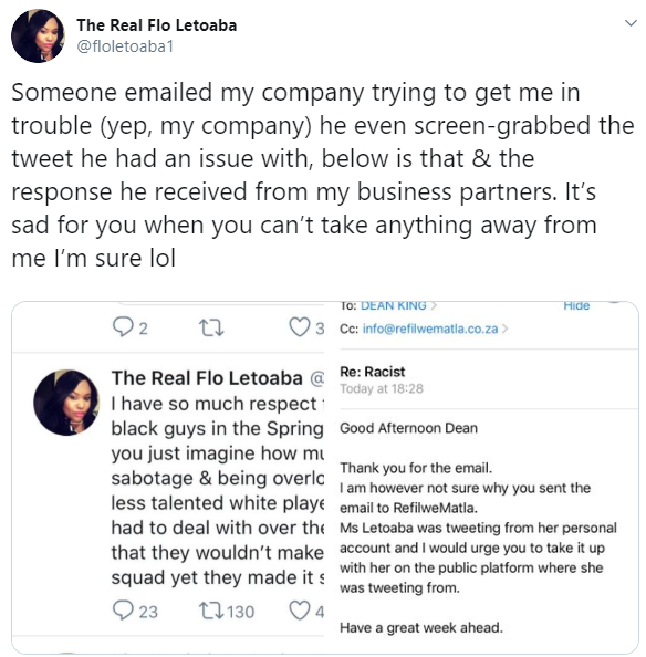 Managing Director reveals how Twitter user tried to get her company to sack her over a tweet, not knowing she