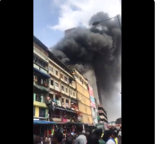 Fire outbreak at Balogun market in Lagos Island