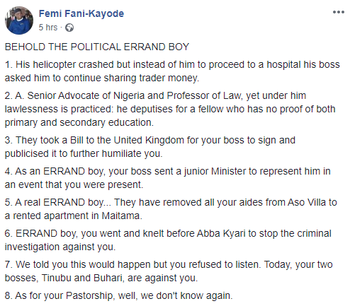 Taking a document to an ailing man without recourse to you confirms you are now a certified errand boy- FFK to Osinbajo