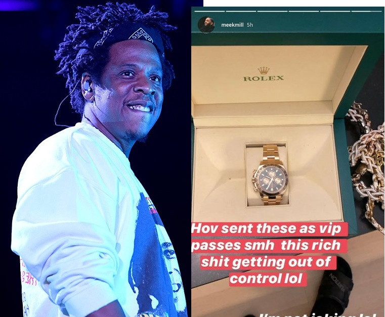 Levels! JAY-Z sends Meek Mill, Swizz Beatz & others $40K Rolex watches as VIP pass to his show (See Photos)