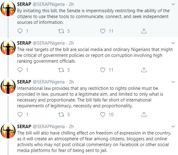 Social media bill:  We?ll vigorously challenge this illegality Nationally and Internationally- SERAP tells Senate