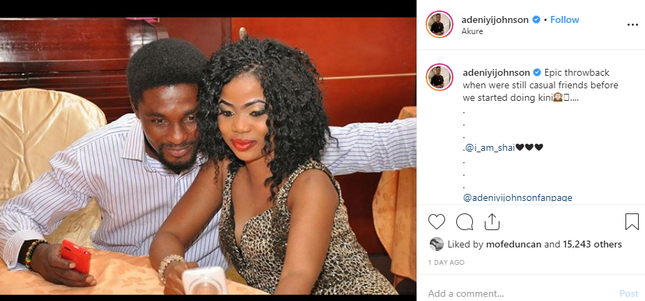 Adeniyi Johnson tackles troll over comment on throwback photo with his wife, Seyi Edun while they were still friends lindaikejisblog 1