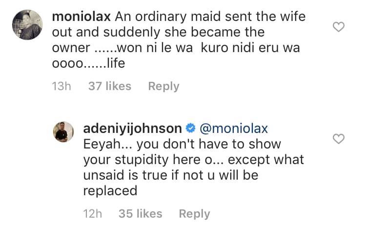 Adeniyi Johnson tackles troll over comment on throwback photo with his second wife, Seyi Edun while they were still friends lindaikejisblog 1