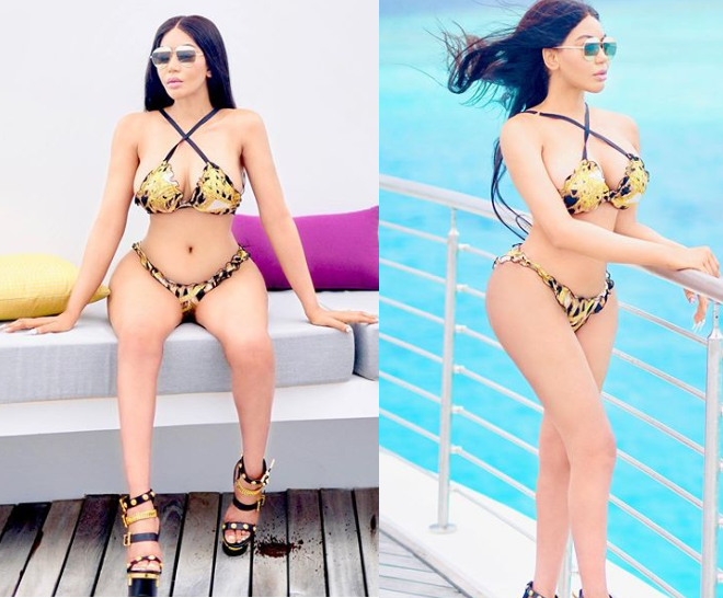 Dencia poses in Versace bikini and Christian Dior sandals (Photos)