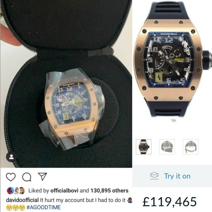 Davido buys a ?119K (N55m) Richard Mille watch