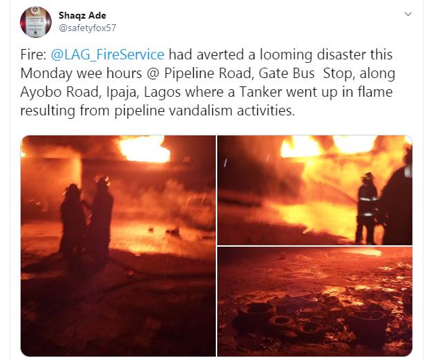 Tanker explodes at Iyana Ipaja, Lagos (video)