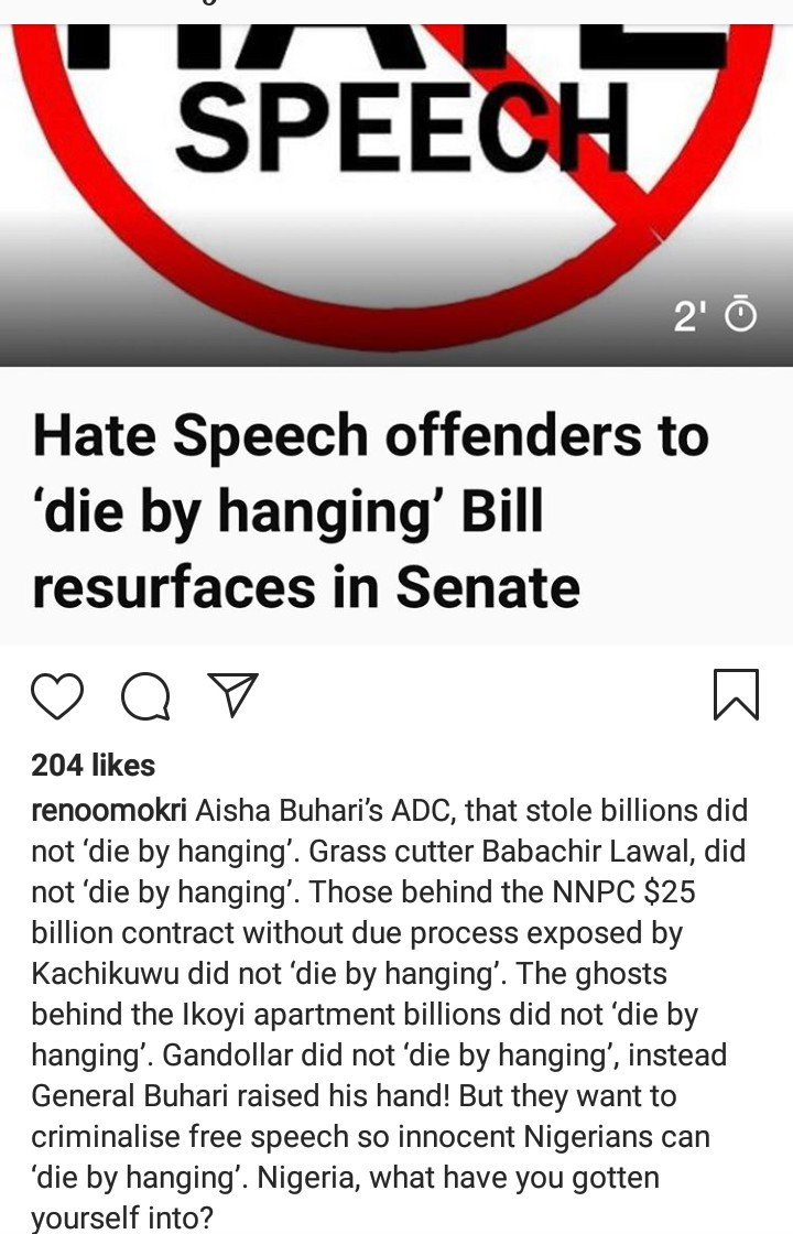 "Reno Omokri reacts to the ""Hate Speech"" Bill proposed by the senate which has passed first reading"