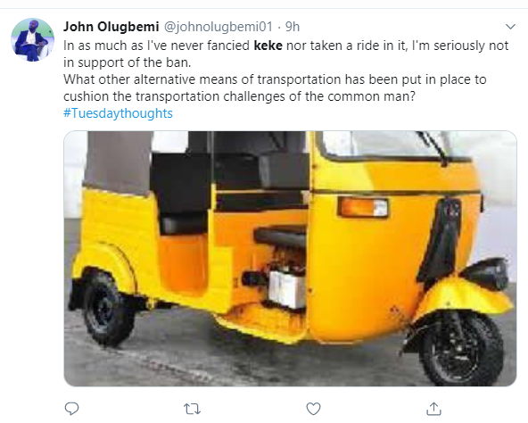 Nigerians react to reports of ban on Tricycles